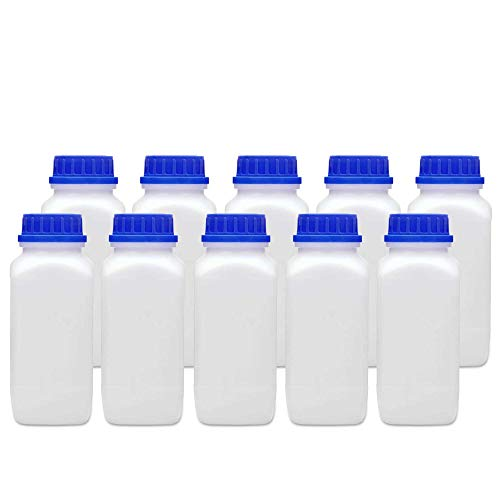 10x 1000 ml Weithalsflasche mit Schraubverschluss in Laborqualität chemikalienbeständig lebensmittelecht mit Gefahrgutzul. | Große Öffnung absolut dicht spülmaschinengeeignet BPA-frei Plastikflasche