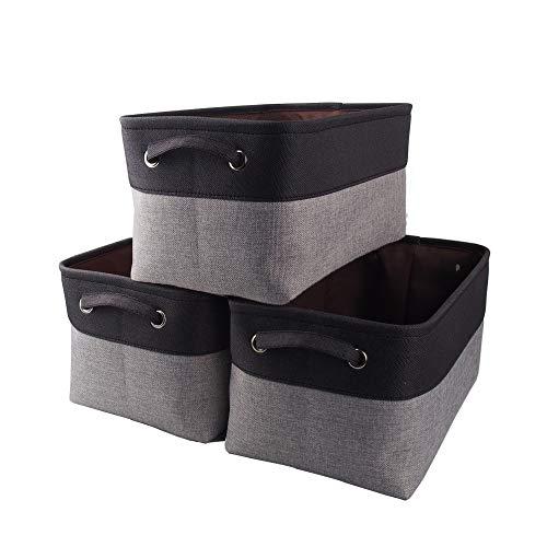 Mangata Canvas-Aufbewahrungsbox, Stoff-Aufbewahrungskorb mit Griffen für Schränke, Regale, Kleidung, Spielzeug (3 Stück, faltbar, grau schwarz)