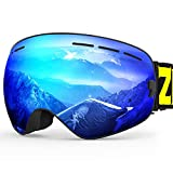 ZIONOR X Ski Snowboard Snow Goggles OTG Design for Men Women with Spherical Detachable Lens UV Protection Anti-Fog (22% Black Frame Revo Blue Lens)