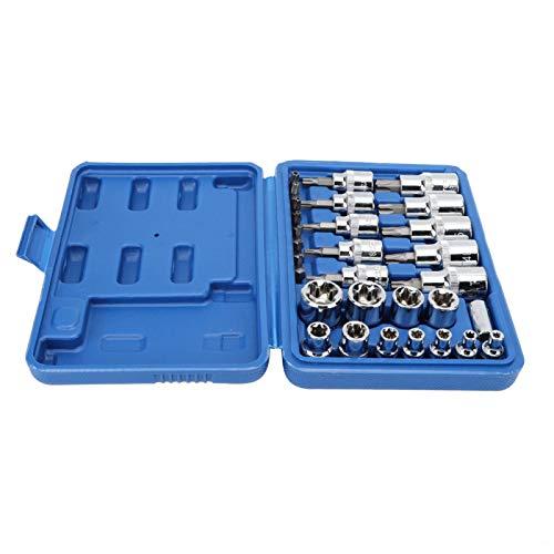 Herramienta de hardware, enchufe de estrella de acero al cromo vanadio duradero, con caja de almacenamiento 29 piezas de alta dureza para un almacenamiento seguro y maquinaria de fácil