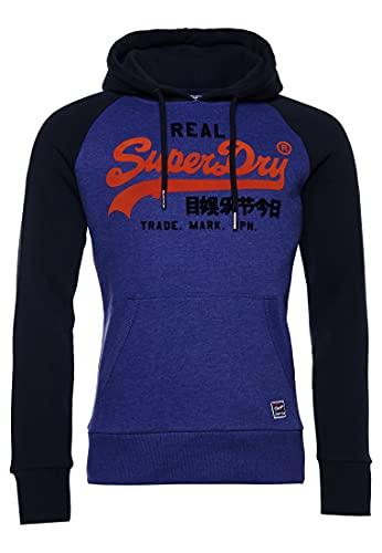 Superdry Mens VL Duo Raglan Hood Hooded Sweatshirt, Dark Cobalt Marl, L