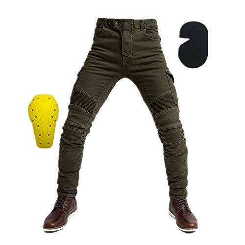 TIUTIU heren motorfiets rijjeans broek, motocross racebroek met 4 afneembare beschermkussens die in elk seizoen kunnen worden gedragen. XX-Large groen