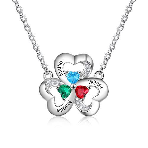 Collar Nombre Personalizado Mujer Corazón Colgante con 3 Nombres Grabado Madre Hija Cadena Regalo para el Día de la Madre Día de San Valentín Navidad