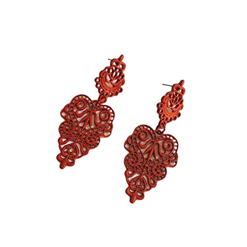 LULI European and American Leaf Drop Earrings Cute Sweet Creative Exaggerated Retro Hollow Ear Ornaments (Color : Red)