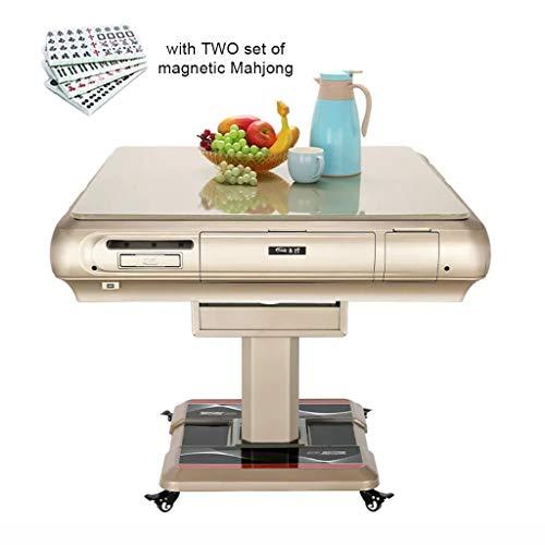 Eettafel Folding Automatische Mahong tafel uitgerust met klapdeksel, bekerhouder, asbak, opbergdoos en opladen via USB, 4 wielen komen 2 sets van 42 mm grote tegels