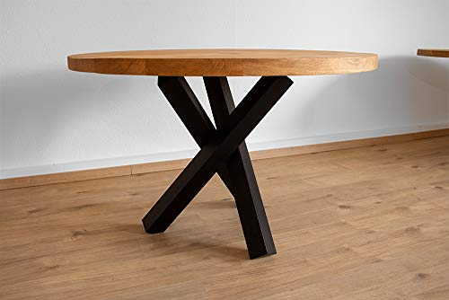KTC Tec Tafelframe staal mat zwart structuur tubes salontafel bijzettafel driepoot tafelglijder modern massief design tafel eendelig kruisframe (glazen tafel)