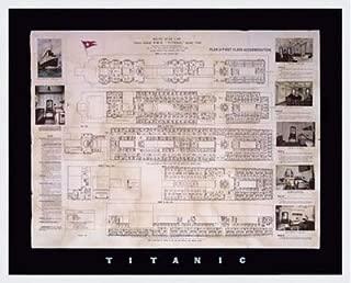 Poster Palooza Framed Titanic Deck Plan- 30x24 Inches - Art Print (Classic White Frame)