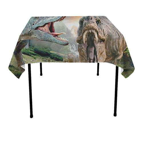 Angry Dinosaur Square Table Cloth Polyester Waterproof Wrinkle Free Table Cloth - Dinning Tabletop Decoration, Banquet, Picnic, BBQ Table Toppers