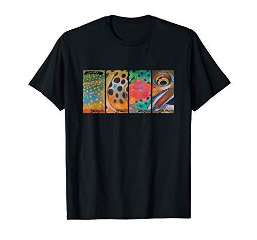 Cutthroat Rainbow Brook Brown Trout T-Shirt Derek DeYoung