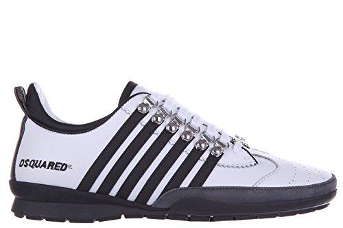 Dsquared2 scarpe sneakers uomo in pelle nuove vitello sport 251 bianco