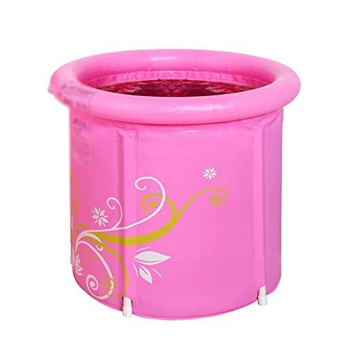 XINGZHE Aufblasbare Badewanne, tragbare Faltbare, aus Kunststoff gefertigte, verdickte freistehende Badewanne for Erwachsene, Erwachsenenwanne, runde Badewanne, pink Folding Badewanne (Size : S)