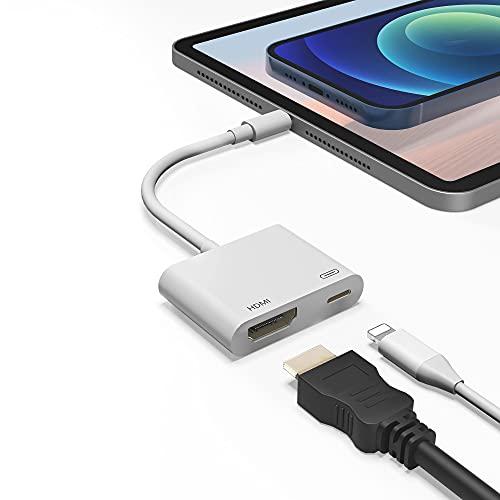 Cavo HDMI per Phone a TV, Adattatore AV Digitale 1080P, Adattatore App Le Schermo di Sincronizzazione con Porta di Ricarica Compatibile con Phone12/11/X/XC/XR/8/7-Pad, Pod