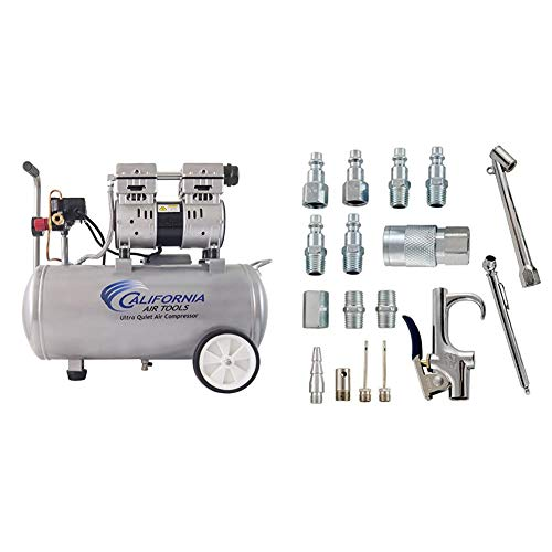 California Air Tools 8010 Ultra Quiet & Oil-Free 1.0 hp Steel Tank Air Compressor, 8 gal, Silver & Accessory Kit, 17 Piece Compressor Inflation Kit, with Blow Gun, Air Chucks, Inflation Needles