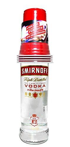 Smirnoff Vodka Party Set - Smirnoff Vodka 70cl (37,5% Vol) + 4x Red Cups Becher -[Enthält Sulfite]