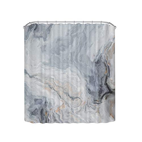 Home Queen Duschvorhang mit Marmor-Textur, mit Metallhaken, wasserdichter Stoff, Badezimmer-Dekor-Vorhang mit beschwertem Gummi an der Unterseite, 180 x 180 cm