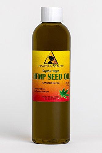 Hemp Seed Oil Unrefined Organic Virgin Carrier Cold Pressed Pure 4 oz, 118 ml