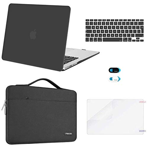 MOSISO MacBook Air 13 inch Case (A1369 A1466, Older Version 2010-2017), Plastic Hard Case & Sleeve Bag & Keyboard Cover & Webcam Cover & Screen Protector Compatible with Macbook Air 13, Space Gray