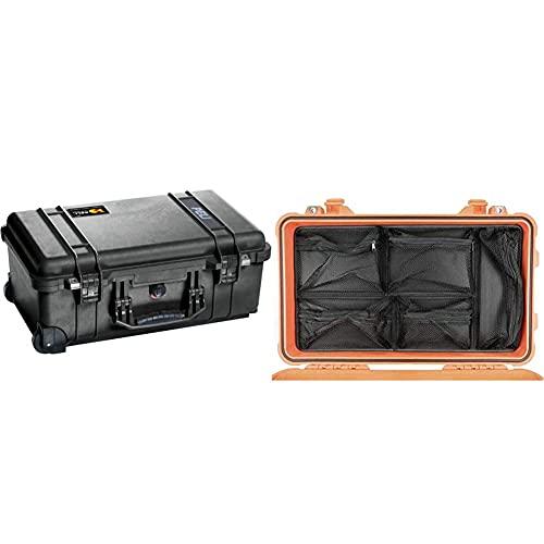 PELI 1510 Robuster Trolley-Koffer mit Rollen, IP67 Wasser- und Staubdicht, 27L Volumen,, Schaumstoffeinlage (Anpassbar), Schwarz & 1510 Deckeleinsatz