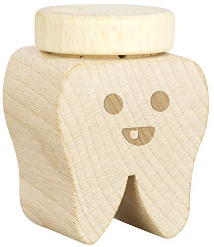 LAUBLUST Milch-Zahndose Holz mit Deckel - Zahn Design - ca. 4 x 4 x 6 cm | Andenken an Kindheit | Geschenk für Kinder