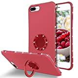 BENTOBEN iPhone 8 Plus Case, iPhone 7 Plus Case, Slim Silicone | 360° Ring Holder Kickstand Soft Rubber Hybrid Hard Drop Protection Shockproof Bumper Non-Slip Cute Girls Women Phone Covers, Rose Red