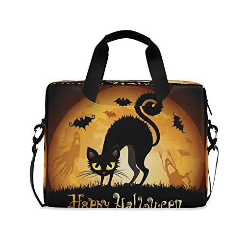 BGIFT Men Women Laptop Bag Halloween Spooky Cat Laptop Case Sleeve 15.6 13 14 16 Inch Briefcase Messenger with Shoulder Strap Handle Notebook Computer Tablet Bags for Kids