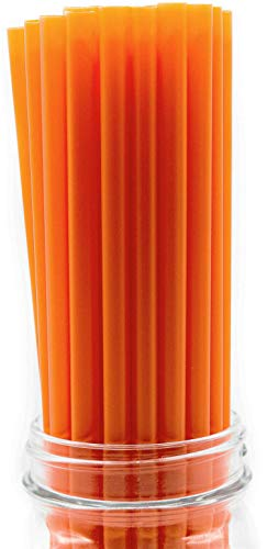 Made in USA Pack of 250 Orange Giant (10' X 0.31') Unwrapped Plastic Smoothie Drinking Straws (FDA-approved, Non-toxic, BPA-free)
