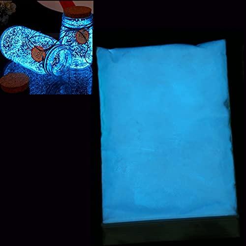 Polveri fluorescenti, pigmenti, professionali, fosforescenti e atossici, luci al neon Stronzio Aluminato in pigmenti scuri, tessuto fluorescente per notti al neon molto brillante al buio(Blu cielo)