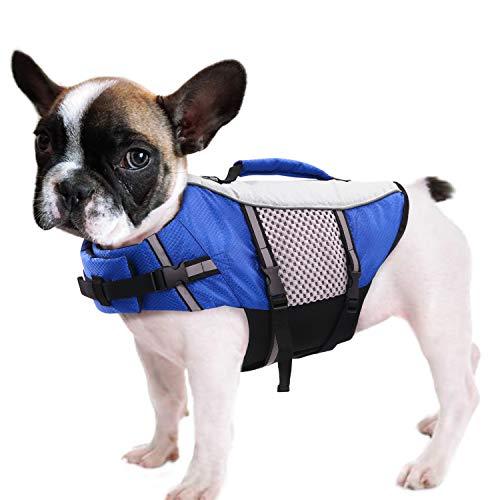 Queenmore Chaleco salvavidas para perros de natación ligero alto reflectante para mascotas con asa elevadora, anillo de correa azul, XS