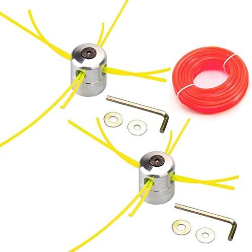 HURI Lot de 2 Coupe-bordure double têtes de débroussailleuse à fil en aluminium pour débroussailleuse à essence nylon pour Tondeuse à Gazon