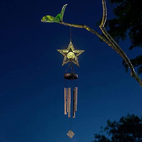 Chíteres de viento solares al aire libre impermeable luces nocturnas campanas ornamento hierro antiguo windchime colgante lámpara para patio jardín yarda decoración-Forma de estrella