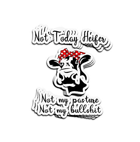 Funny Cow Not Today Heifer Not My Pasture Not My Bullshit Sticker Graphic - Weatherproof & Long Lasting Sticker