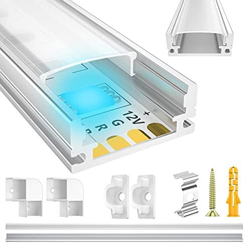LED Aluminium Profil 10 x 1m ,LIAOINTEC U-Form LED Aluminium Profil mit Weiß Milchige Abdeckung, Endkappen, und Montageklammer für LED-Streifen, Leisten (LED Strips/Band bis 12 mm inkl.)