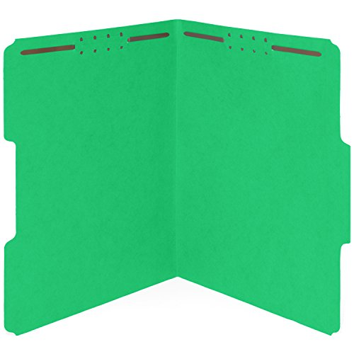 50 Green Fastener File Folders - 1/3 Cut Reinforced Assorted Tab - Durable 2 Prongs Designed to Organize Standard Medical Files, Law Client Files, Office Reports - Letter Size, Green, 50 Pack