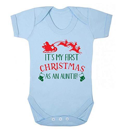 Flox Creative Baby Vest My First Christmas Auntie - Bleu - 6-12 Mois