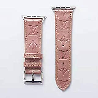 A+NYC 42 Compatible Apple Watch Straps 42mm (fit for 44mm), Luxury Fashion PU Leather Classic Wrist Bands for Women and Men, Replacement for Apple Watch Series 4 3 2 1 42/44MM (Rose Gold)