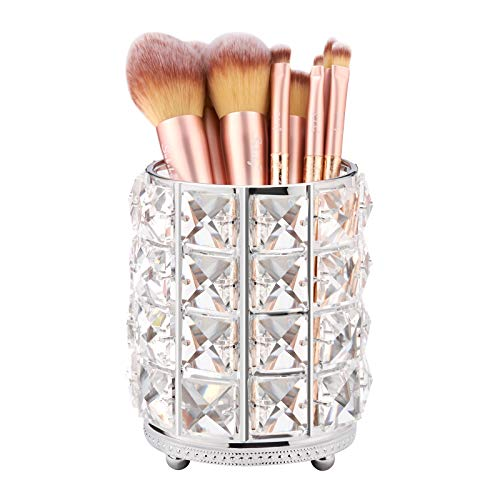 Subsky Crystal Make up Organizer,Make Up Pinsel Aufbewahrung aus Kristall,Schminktisch Makeup Organiser Made of Metal and Crystal,schminktisch zubehör ,Pinselhalter,Pinsel Aufbewahrung