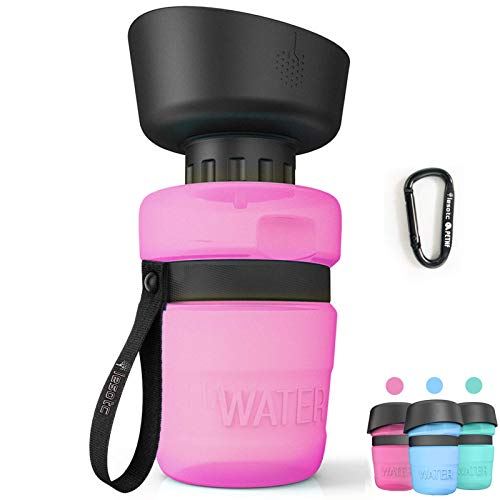 Pet Water Bottle for Dogs, dog water bottle foldable, Dog Travel Water bottle, Dog Water Dispenser, Lightweight & Convenient for Travel BPA Free 18 OZ.(Pink)