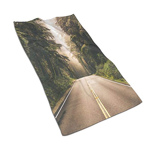 Beach Towel Washcloths 27.5 X 17.5 in, Straight Highway in Northern California United States Nature Photography,for Beach,Travel,Swim,Pool,Camping,Outdoors and Sports Towel
