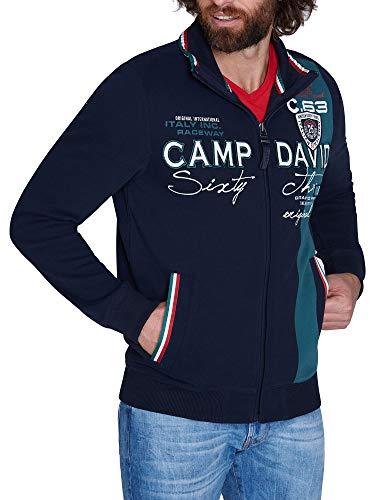 Camp David Herren Sweatjacke mit Farbstreifen und Artwork, Blue Navy, L
