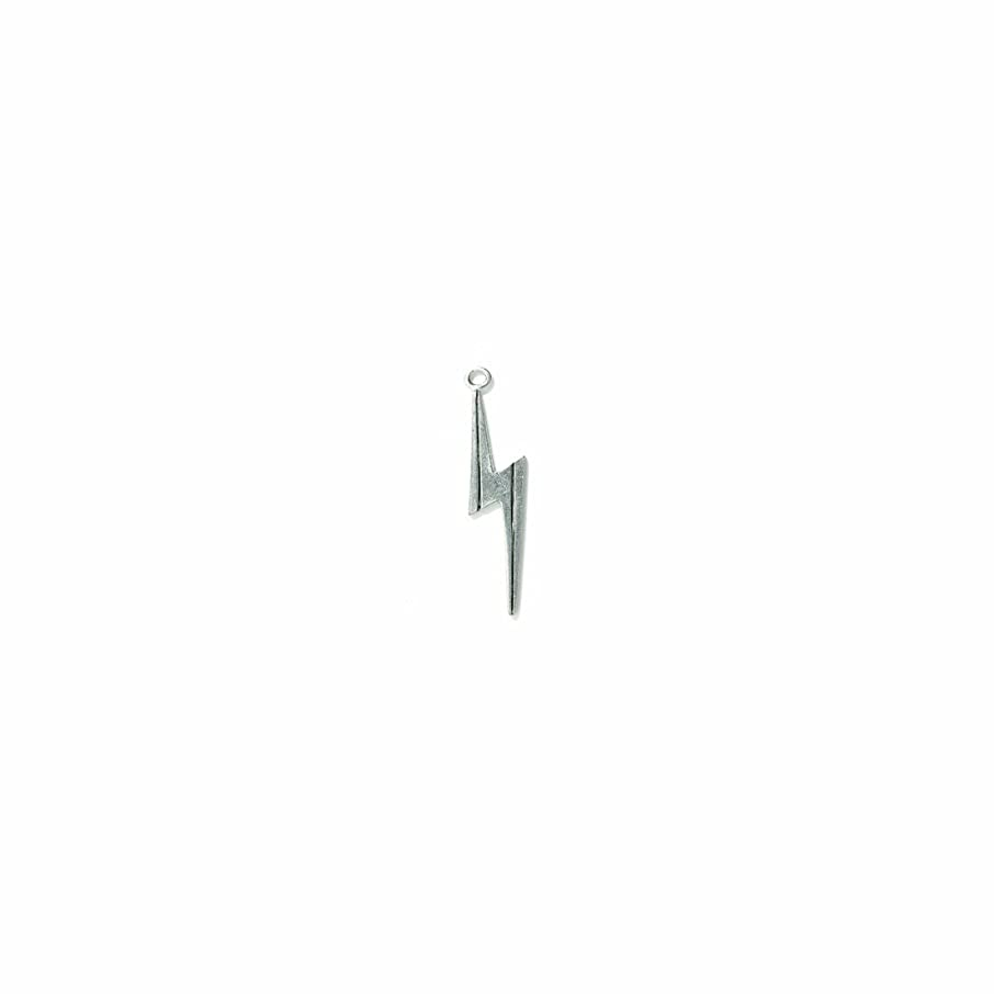 Shipwreck Beads Pewter Lightning Bolt Charm, Silver, 8 by 25mm, 6-Piece