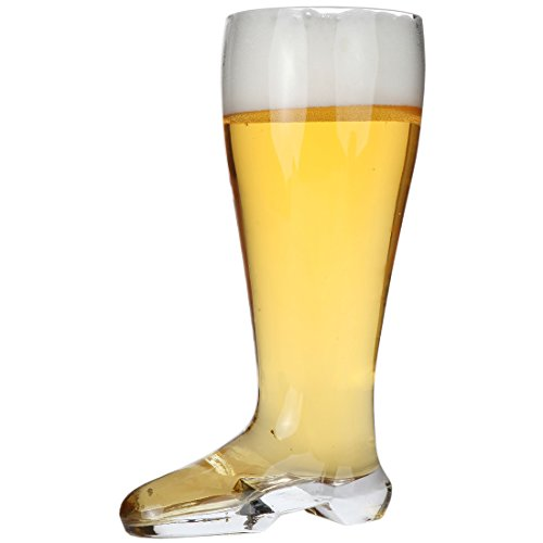 """Lily's Home Das Boot Oktoberfest Beer Stein Glass, Great for Restaurants, Beer Gardens, and Parties or as a Funny Bachelor Party Gift, Jackboot Style, (1 Liter Capacity, 9.8"""" H x 3.9"""" W x 5.7"""" D)"""