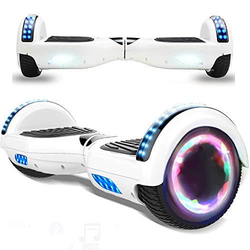 Magic Vida Skateboard Elettrico 6.5 Pollici Bluetooth Power 700W con Due Barre LED Monopattini elettrici autobilanciati di buona qualità per Bambini e Adulti(Nero)