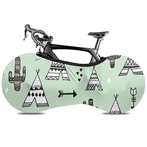 Gold Piñas fondo oscuro portátil cubierta de bicicleta interior anti polvo alta elástico cubierta de rueda de bicicleta protectora Rip Stop neumático carretera mtb bolsa de almacenamiento, Tienda de campaña con flecha y cactus, talla única