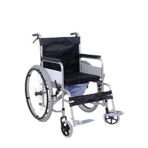 YDHNB Silla De Ruedas Plegable para Ancianos Y Minuválidos Cochecito De Acero Auto Propulsado Asistidas Transporte Silla De Ruedas De Viaje Asiento 48 cm
