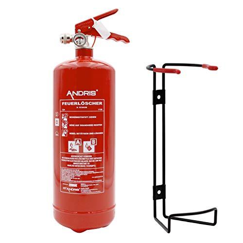 ANDRIS® Marken-Feuerlöscher 3L Schaum AB mit Manometer, EN 3 mit stabilem Universal-Drahthalter & ANDRIS® Prüfnachweis mit Jahresmarke