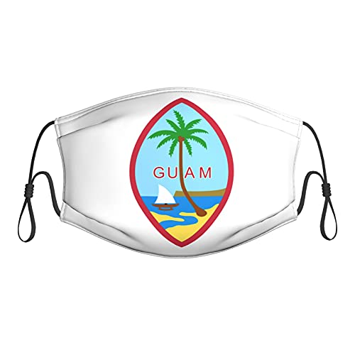 The Coat of Arms of Guam Unisex Dust Filter Face Mask Breathable,Washable and Reusable Adjustable Black