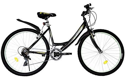 T 26 Zoll Kinder Mädchen Damen Fahrrad Mädchenfahrrad Mädchenrad Mountainbike MTB Bike Rad 21 Gang 4100 Schwarz Türkis