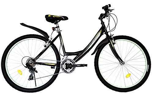 T 26 Zoll Kinder Mädchen Damen Fahrrad Mädchenfahrrad Mädchenrad Mountainbike MTB Bike Rad 21 Gang 4100 Schwarz Grün