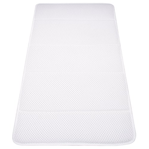 Bianco Materasso Vasca da Bagno Extra-Comfort con Morbido Cuscino Poggiatesta Materassino in Air Mesh con Ventose Relax Corpo HYCZW Cuscino per Vasca da Bagno 48 X 14.5 in