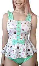 Littleforbig Adult Baby Diaper Lover (ABDL) Button Crotch Adult Baby Onesie Bodysuit – Vintage Sweets XL Green